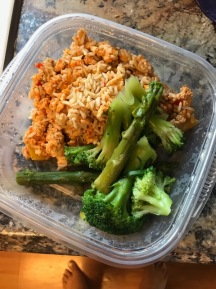 Lunch- ground turkey with brown rice, seasonings, and diced bell peppers. Broccoli and asparagus too!