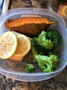 Dinner- Baked lemon Salmon, sweet potato, and broccoli.